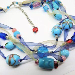 Venetian Murano Wedding Cake Glass Ribbon Necklace